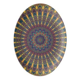 Bohemian oval mandala porcelain serving platter