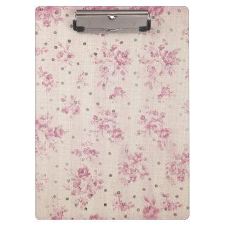 Bohemian pastel pink stripes floral polka dots clipboard
