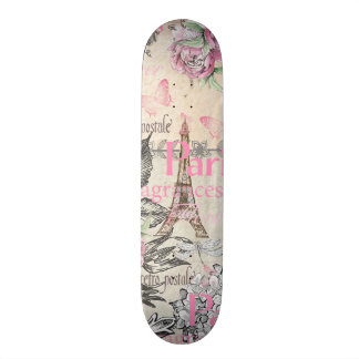 Bohemian pink black floral Paris Eiffel Tower typo 19.7 Cm Skateboard Deck
