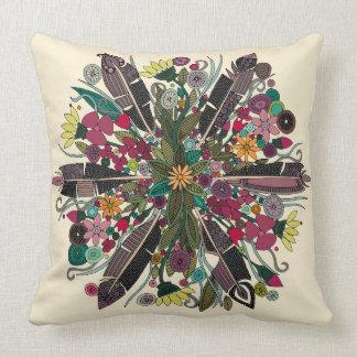 bohemian posy cream throw pillow