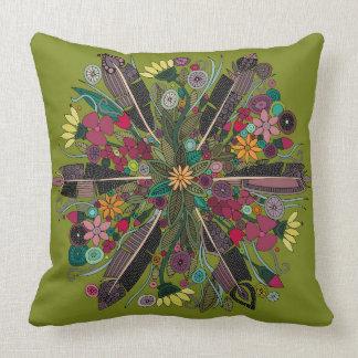 bohemian posy green throw pillow