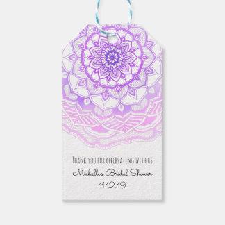 Bohemian Purple Mandala Chic Bridal Shower Gift Tags