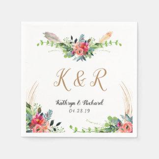Bohemian Rustic Floral Watercolor Monogram Wedding Paper Napkin