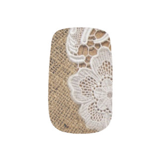 bohemian rustic western country burlap and lace minx nail art