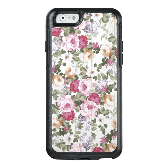 Bohemian rustic white wood blush pink flowers OtterBox iPhone 6/6s case