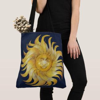 Bohemian Smiling Sun on Blue #1 Tote Bag