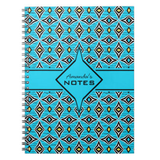 Bohemian style blue yellow diamond shaped design notebook
