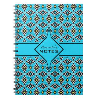 Bohemian style blue yellow diamond shaped design notebook