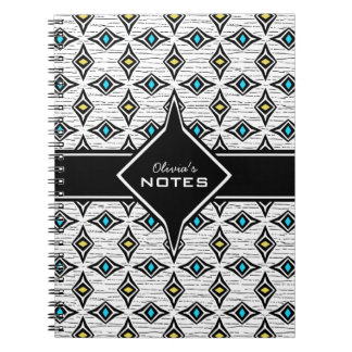 Bohemian style blue yellow diamond shaped design spiral notebook