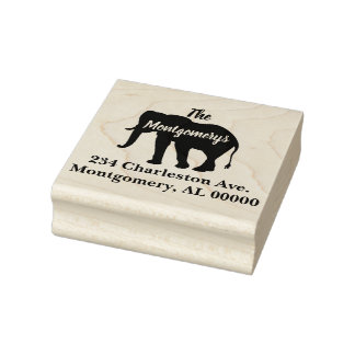 Bohemian Style Elephant Silhouette Family Address Rubber Stamp