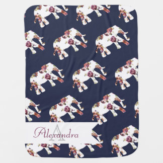 Bohemian Style Floral Elephants & Baby's Name Baby Blanket