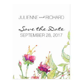 Bohemian Style Floral Wedding Save the Date Postcard