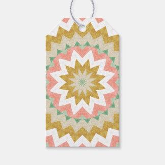 Bohemian Style Geometric Mandala Flower Burst Gift Tags