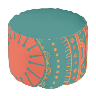 Bohemian Style Pouf in Orange and Teal