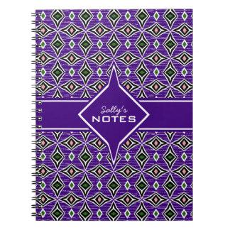 Bohemian style purple green diamond shaped design notebook