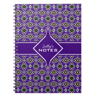 Bohemian style purple green diamond shaped design notebooks