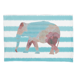 Bohemian Style Teal Blue Stripes & Floral Elephant Pillowcase