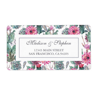 Bohemian Succulent & Floral -  Wedding Shipping Label