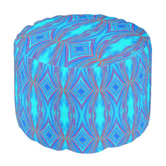 Bohemian Teal and Blue Footstool with Red and Blue Pouf