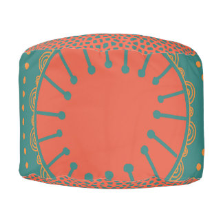 Bohemian Teal and Orange Speckled Pouf