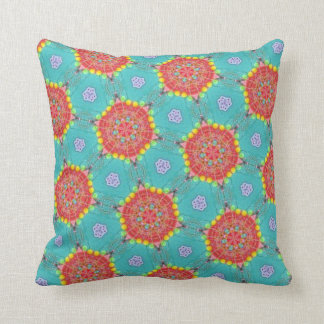 Bohemian Teal and Orange Spirograph Throw Pillow