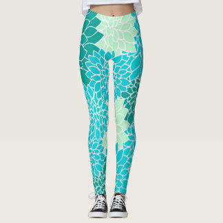 Bohemian Teal Aqua Blue Green Floral Leggings