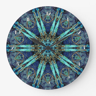 Bohemian Teal Floral Star Pattern Wall Clock