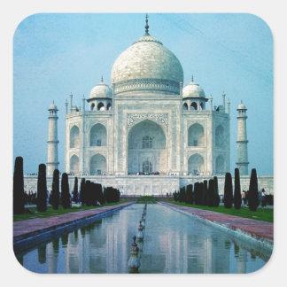 Bohemian travel India Agra Vintage Taj Mahal Square Sticker
