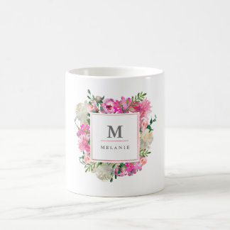 Bohemian Trendy Watercolor Monogram Mug
