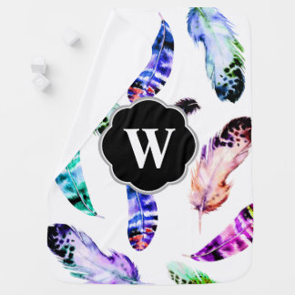 Bohemian Watercolor Feathers Initial Letter Swaddle Blankets
