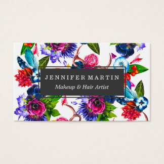 Bohemian Watercolor Flowers Deer Antlers Leaves Business Card