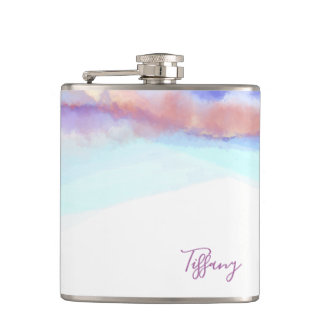 Bohemian Watercolor Personalized Name Hip Flask