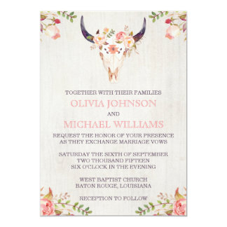 Bohemian Watercolor Skull Wedding Invitations