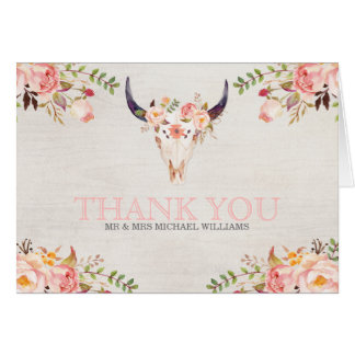 Bohemian Watercolor Skull Wedding Thank You Cards