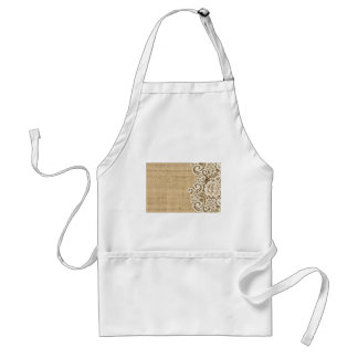 Bohemian Western country rustic burlap and lace Standard Apron