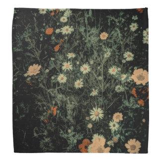 bohemian white daisy wildflower black floral bandana