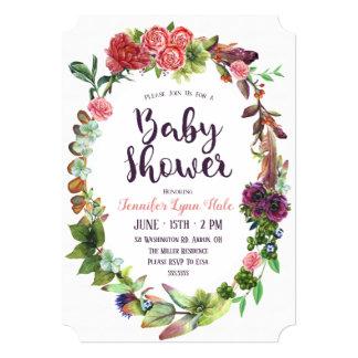 Bohemian Wreath Baby Shower Invitation