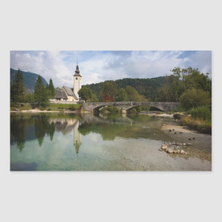 Bohinj lake and church, Slovenia rectangle sticker