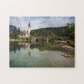 Bohinj lake with church in Slovenia jigsaw puzzle