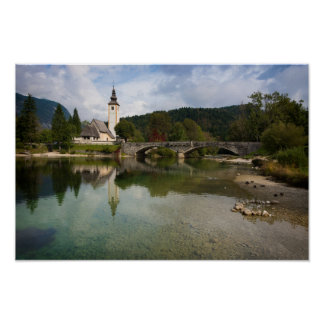 Bohinj lake with church in Slovenia poster