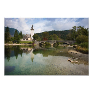 Bohinj lake with church in Slovenia print