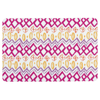 BOHO ABSTRACT PRINT, Pink Purple Yellow Floor Mat