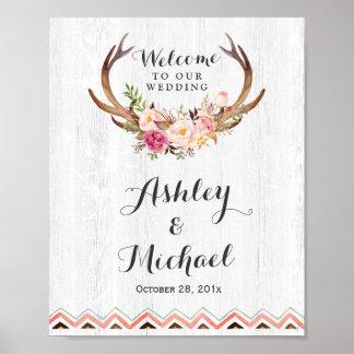 Boho Antler Floral Rustic White Wood Wedding Sign Poster