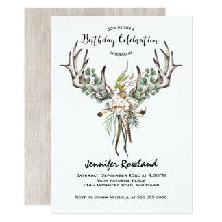 Boho Antlers and Cotton Birthday Invitation