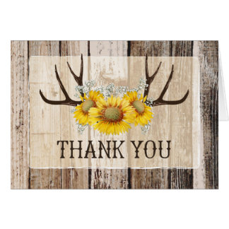 Boho Antlers Rustic Wood Sunflowers Thank You Card