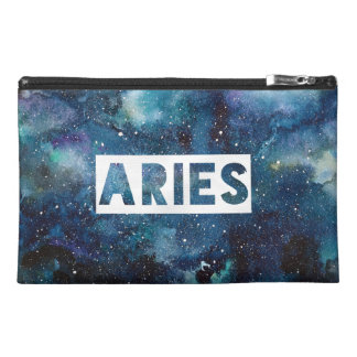 Boho Aries Zodiac Star Sign Blue Galaxy Print Travel Accessory Bag