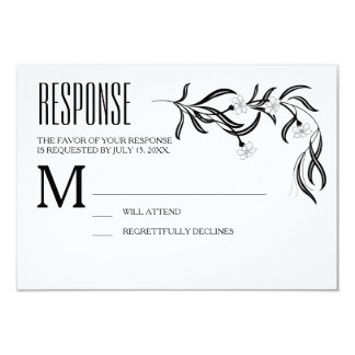 Boho Art Deco Black and White Floral Response Card