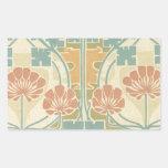 boho art deco vintage art flower pattern rectangular stickers