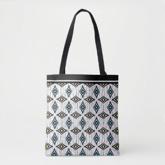 Boho aztec blue and yellow diamond pattern tote bag