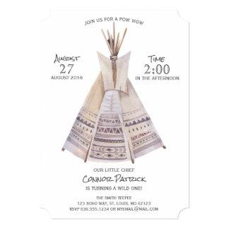 Boho Aztec Teepee First Birthday Card